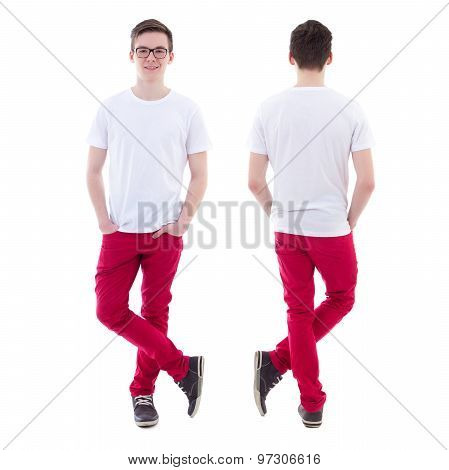 Front And Back View Of Young Man Standing Isolated On White