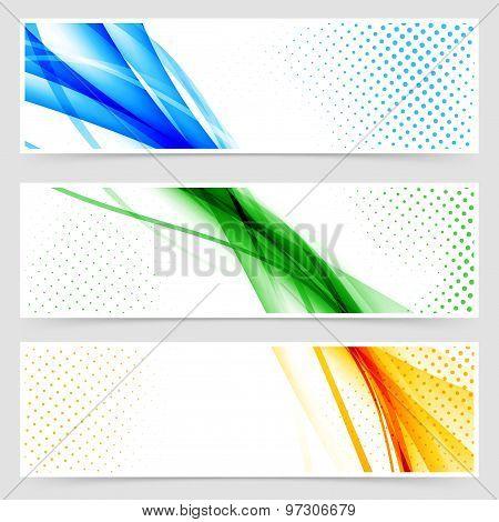 Modern Colorful Futuristic Hi-tech Header Set