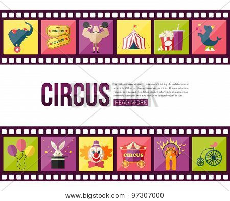 Film strips and circus entertainment  icons set for infographics, presentation templates, web and mo