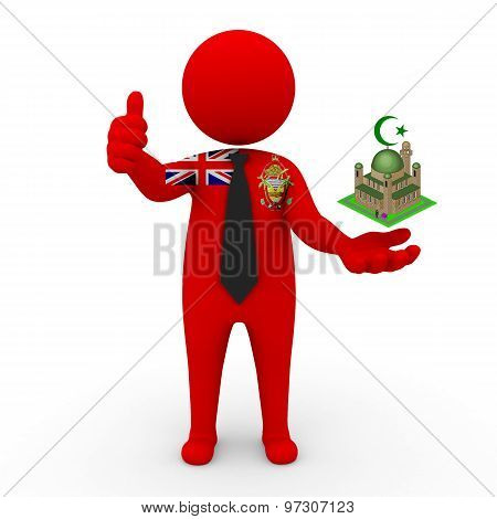 3d businessman people Ashmore & Cartier Islands - Muslim mosque and Islam
