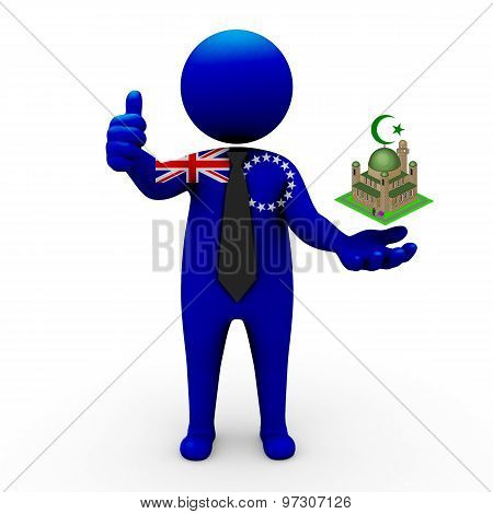 3d businessman people Cook Islands - Muslim mosque and Islam in Cook Islands