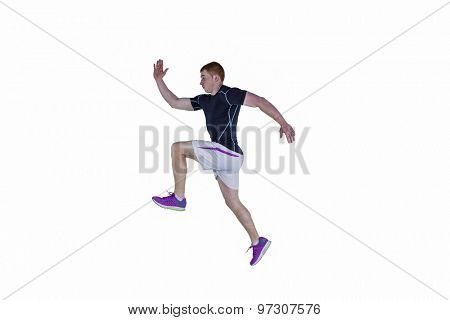 Muscular rugby player running on a white background