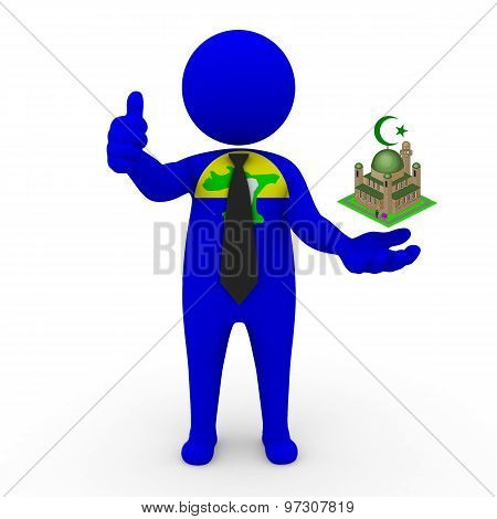 3d businessman people Chatham - Muslim mosque and Islam in Chatham (archipelago)
