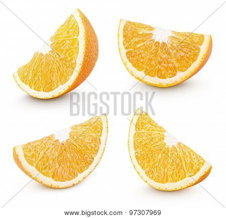 Slice Of Orange Citrus Fruit On White