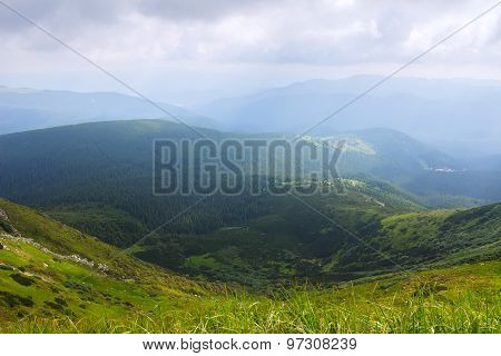 View from Hoverla in the Carpathians mountains, Ukraine