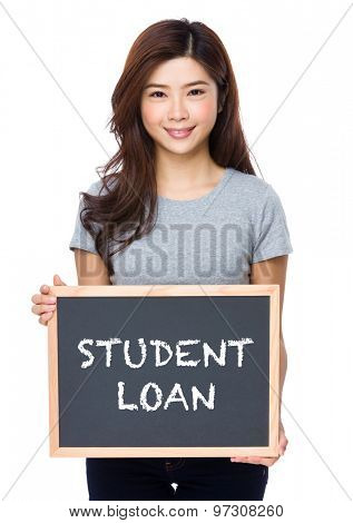 Young woman with chalkboard showing student loan