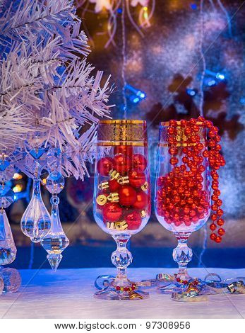 A Glass Of Champagne, Christmas Tree, Christmas Decorations. Background, Card