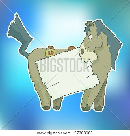Cartoon Character Horse with Wooden Poster Isolated on Color Blurred Background. Vector.