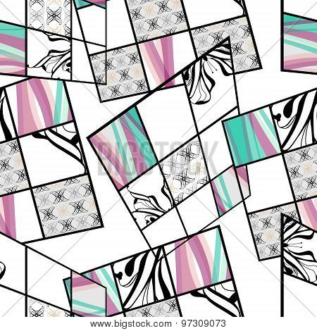 Patchwork Seamless Retro Pattern Modern Background