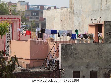 balcony in some poor district of Delhi