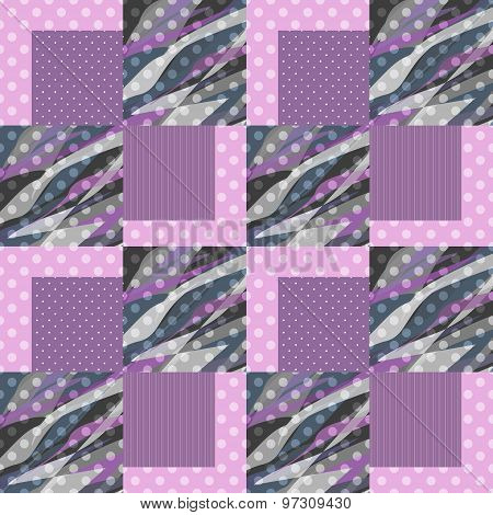 Patchwork Seamless Pattern Checkered Ornament Background