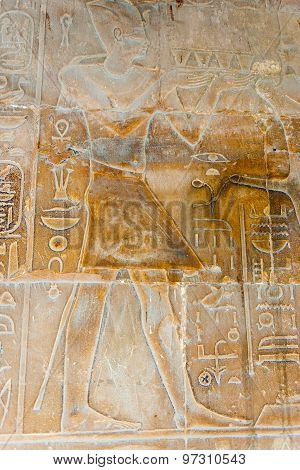 Ancient Relief At Luxor Temple
