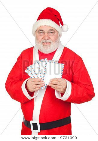 Santa Claus With Envelopes For Sending Letters