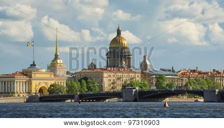 View on the Neva river and St Isaac's Cathedral. St. Petersburg, Russia