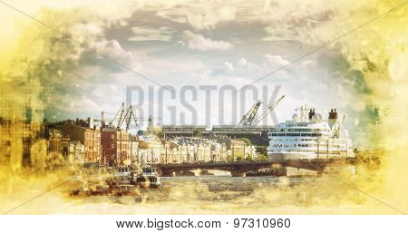 St. Petersburg. Ocean liner moored on the English Embankment. Russia.Filtered image: vintage effect.