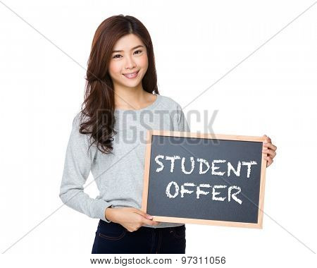Asian woman hold with black board and showing student offer