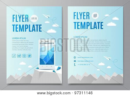 Design Flyer, Book Cover With Modern White Smartphone. Vector