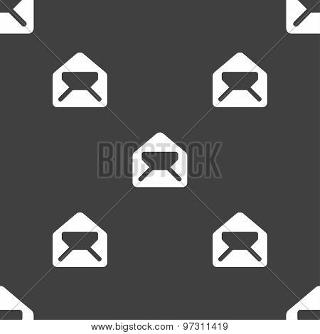 Mail, Envelope, Letter Icon Sign. Seamless Pattern On A Gray Background. Vector