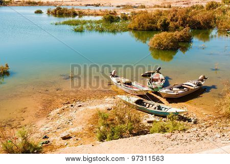Fishing Boats On River Nile.