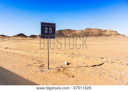 Sign On The Road, Sahara Desert South Of Egypt