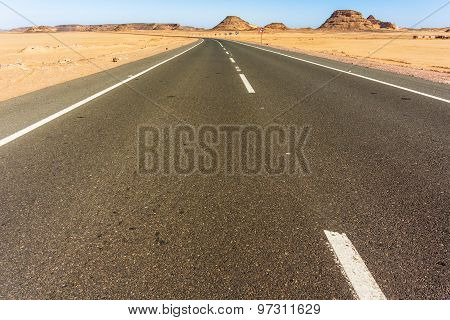 Road Through Sahara Desert In Egypt