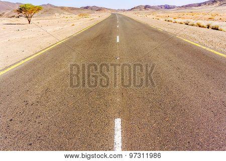 Road Through Sahara Desert In Sudan.