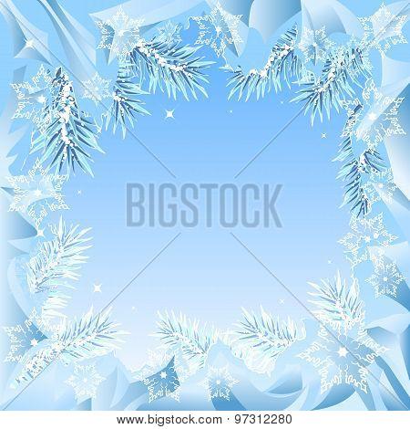 Frame of fir branches frozen