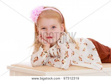 Girl lying on the couch