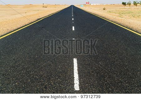 Road Thru The Sahara Desert In Sudan