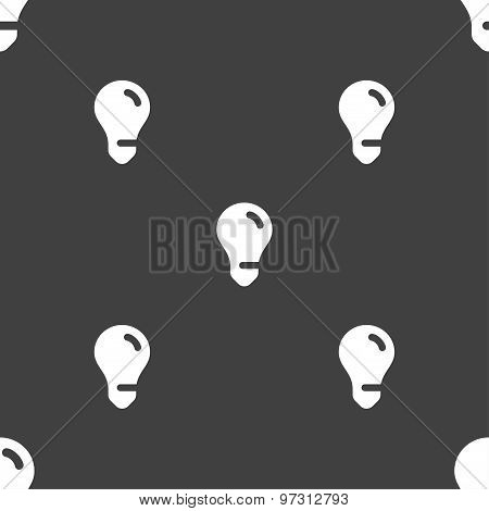 Light Bulb, Idea Icon Sign. Seamless Pattern On A Gray Background. Vector