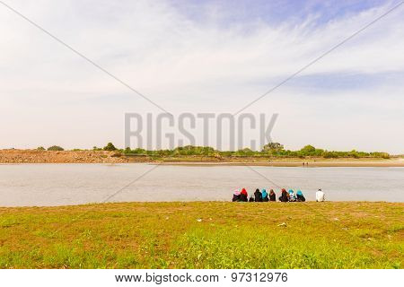Sudanese At The Bank Of The River Nile In Khartoum