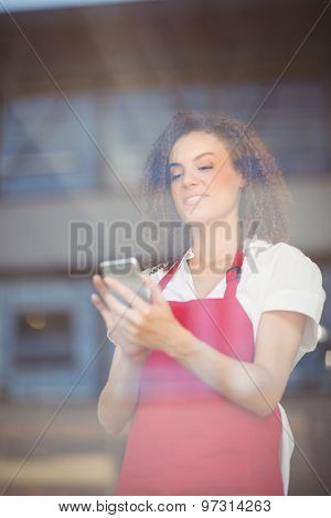 Smiling waitress sending a text at the coffee shop