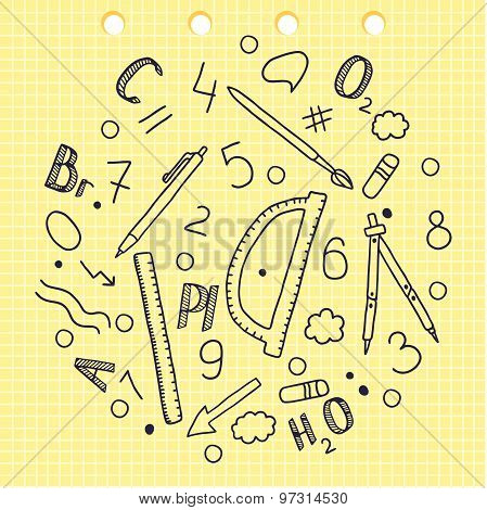 Hand drawing. Set of words and labels. Chemical elements. School appliances. Ruler. Compasses. Penci