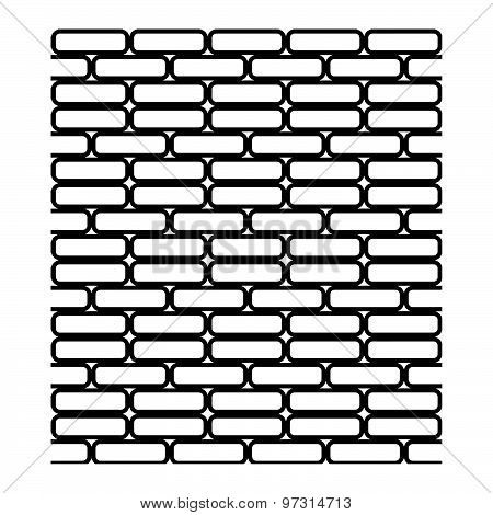 Illustration Vector Of Seamless Black And White Brick Wall Isolated On White Background