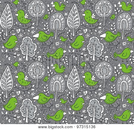 Colorful Floral Seamless Pattern With Trees And Birds