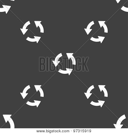 Refresh Icon Sign. Seamless Pattern On A Gray Background. Vector