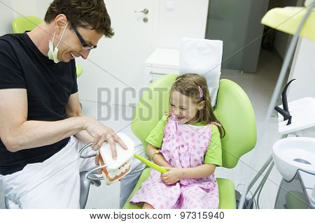 Girl In Dentists Chair Tooth-brushing A Model