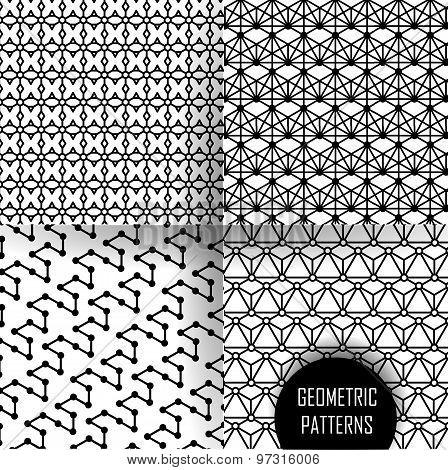 geometric pattern in op art design. Black and white art.