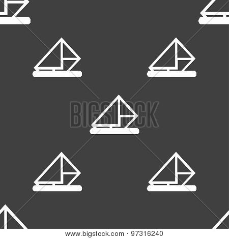 Letter, Envelope, Mail Icon Sign. Seamless Pattern On A Gray Background. Vector