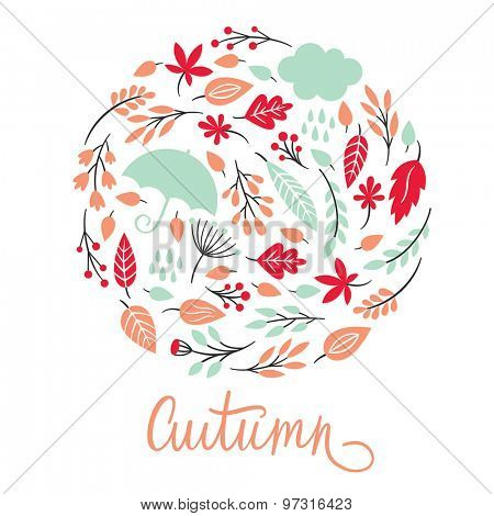 autumn, vector illustration with autumnal leaves