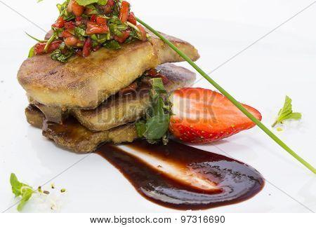 Roast goose liver