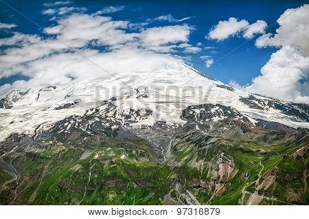 Mount Elbrus In Clouds