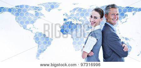 happy business team against background with world map