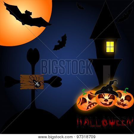 Halloween Night Background With Creepy Castle And Pumpkins. Vector Illustration