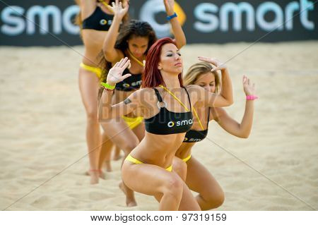 Rome, Italy - June 15 2011. Beach Volleyball World Championships. Cheerleader In Action