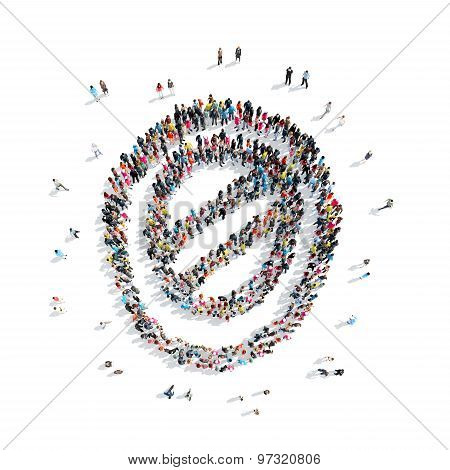 people in the form of an abstract symbol.