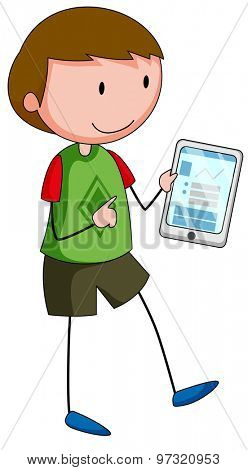 Little boy looking at graph in tablet
