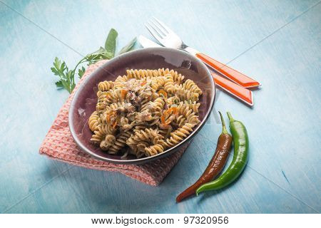 fusilli with fish and hot chili pepper