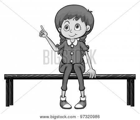 Cute girl sitting on wooden bench