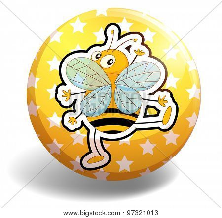 Dancing bee on the yellow badge